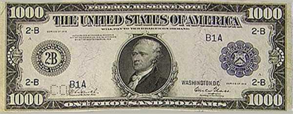 Банкноты США 500, 1000, 10000 и 100000